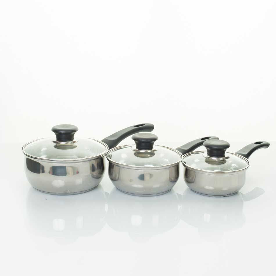 Three Piece Stainless Steel Saucepan Set.