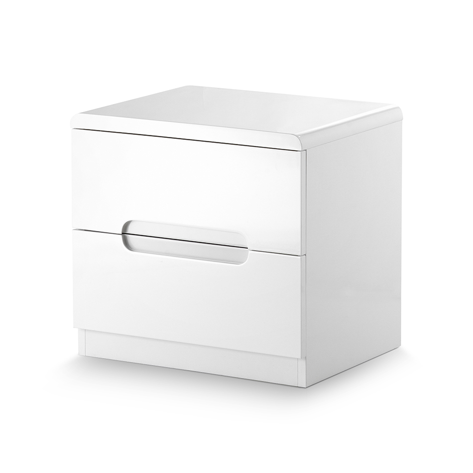Mia High Gloss 2 Drawer Bedside