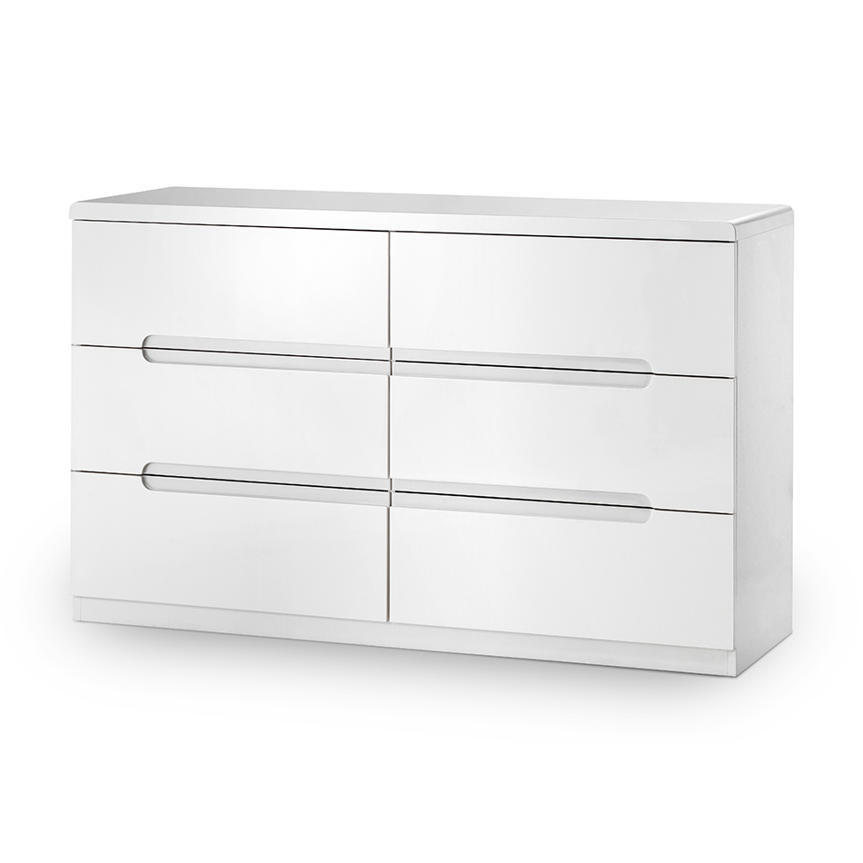 Mia High Gloss 6 Drawer Wide Chest